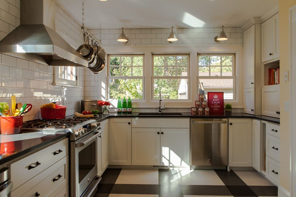 Subway Tile Patterns for a Transitional Kitchen with a White Drawers and Retro Minneapolis Kitchen by Fiddlehead Design Group, Llc