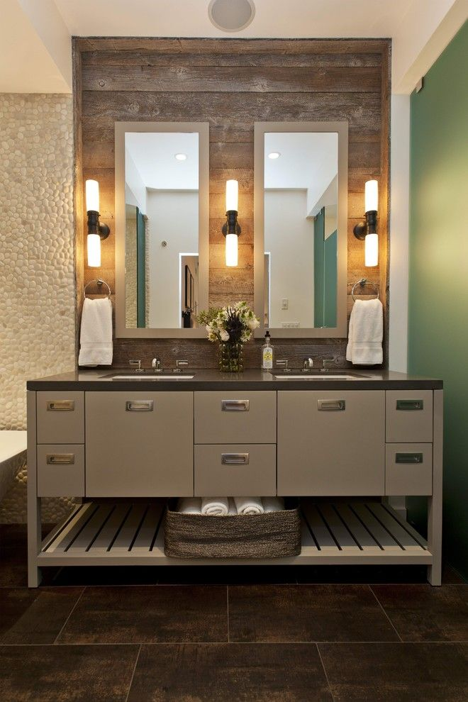 Sugatsune for a Rustic Bathroom with a Towel Storage and Woodside Residence by Fiorella Design