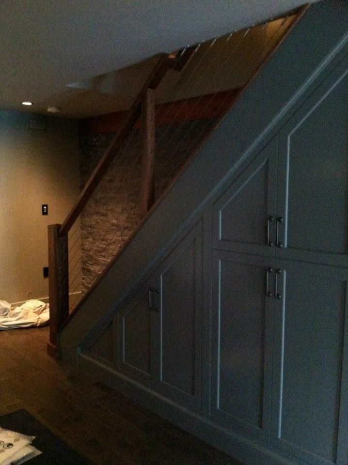 Sun Valley Bronze for a Contemporary Basement with a Storage Under Stairs and Contemporary Basement by Pinneydesigns.com