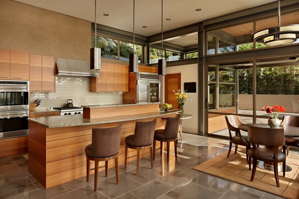 Sun Valley Bronze for a Modern Kitchen with a Rug and Lake House Two   Kitchen by Mcclellan Architects