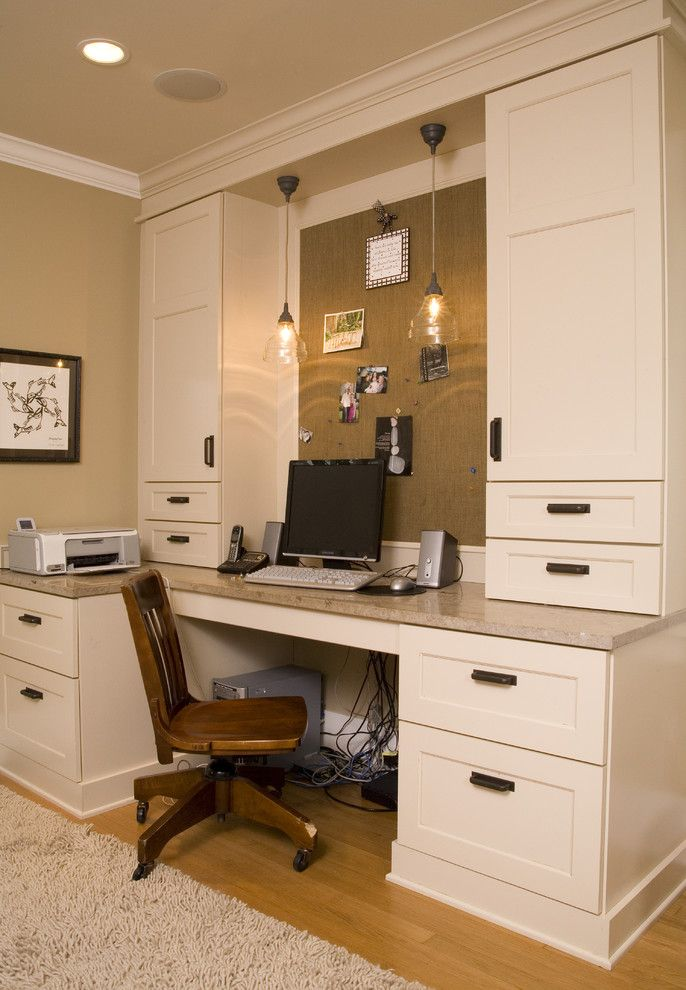 Sun Valley Bronze for a Traditional Home Office with a Pendant Lighting and Home Office Computer Room by Kayron Brewer, Ckd, Cbd / Studio K B