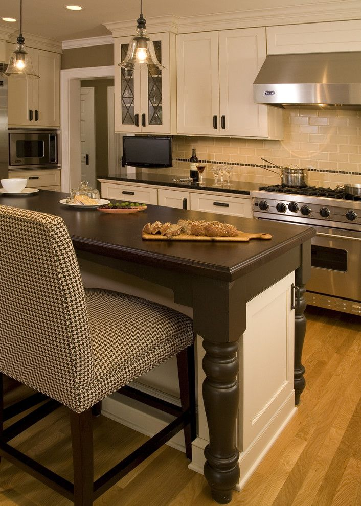 Sun Valley Bronze for a Traditional Kitchen with a Wood Cabinets and Mocha Kitchen by Kayron Brewer, Ckd, Cbd / Studio K B