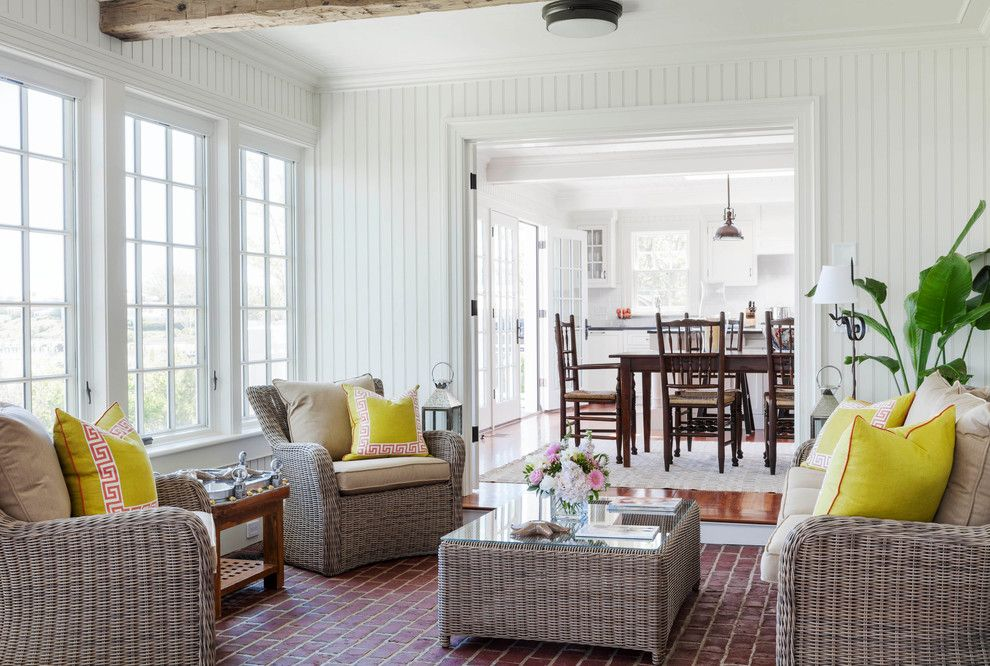 Sunroom Decorating Ideas for a Beach Style Sunroom with a Crown Moulding and 31 South Water Street by Colonial Reproductions, Inc.