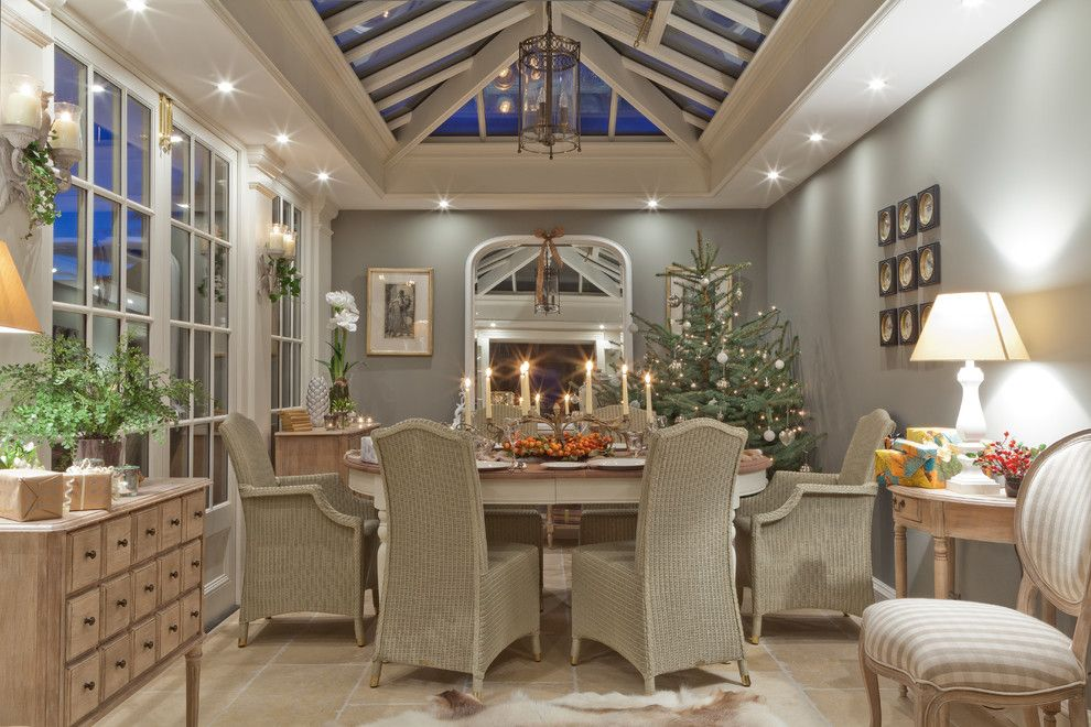 Sunroom Decorating Ideas for a Traditional Sunroom with a Night Lighting and Christmas in a Conservatory by Vale Garden Houses