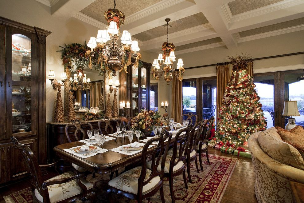 Sunroom Decorating Ideas for a Victorian Dining Room with a China Cabinet and Traditional Christmas Living and Dining Room by Dawn Hearn Interior Design