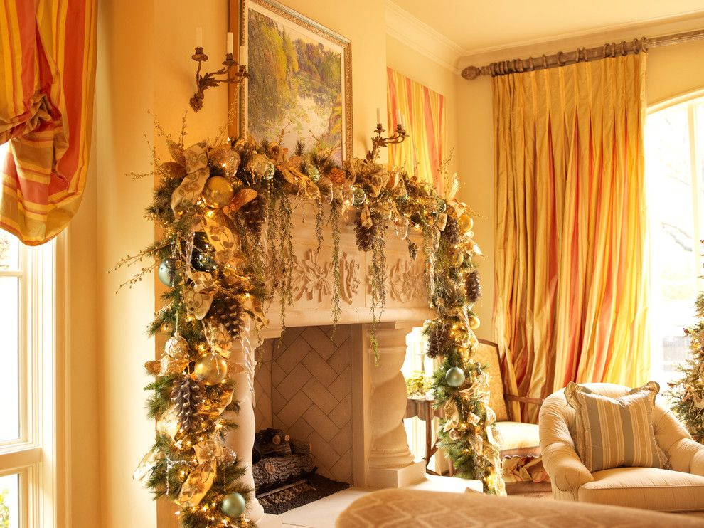 Sunroom Decorating Ideas for a Victorian Living Room with a Yellow and Christmas Interior by Regina Gust Designs