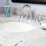 Super White Quartzite for a Modern Bathroom with a Ogee and Super White Quartzite Vanity by Counteredge