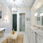 Super White Quartzite for a Traditional Bathroom with a Super White Quartzite and Bianco Carrara Marble Bathroom and Atlanta Homes & Lifestyles Christmas House  Natural Stone Provided by Levantina by Levantina Usa