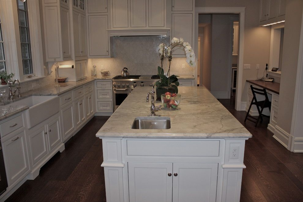 Super White Quartzite for a Traditional Kitchen with a Marble Like Stone and Armonk, Ny by La Pietra Tile & Stone