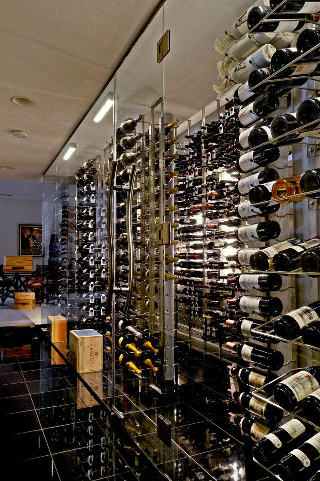 Superior Moulding for a Contemporary Wine Cellar with a Bottle Storage and Wine Bottle Storage by Superior Moulding of Nevada