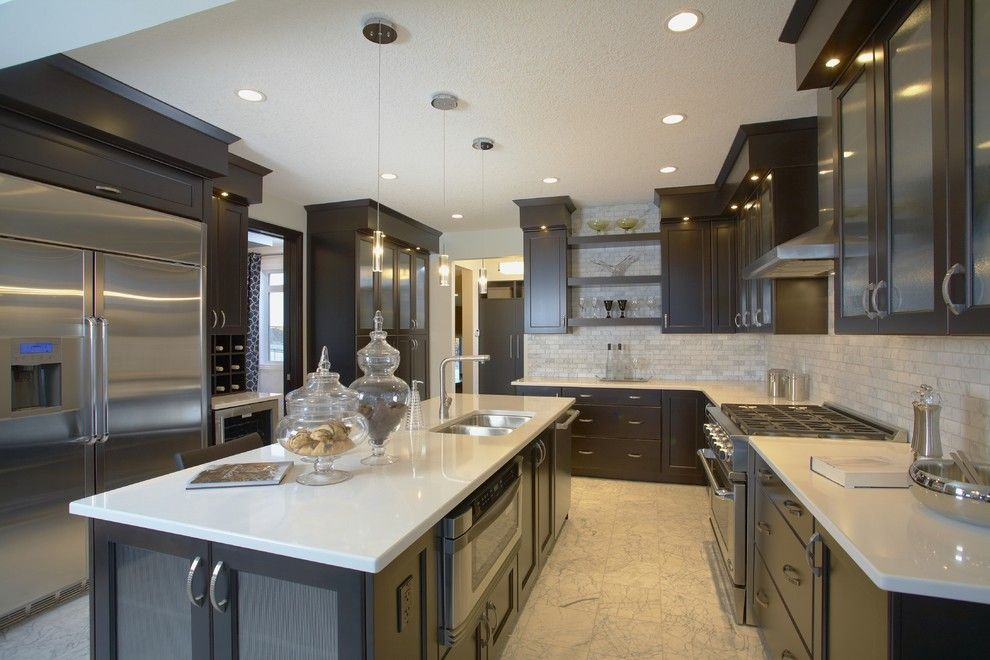 Supersod for a Contemporary Kitchen with a Tile Kitchen Backsplash and Amara by Superior Cabinets