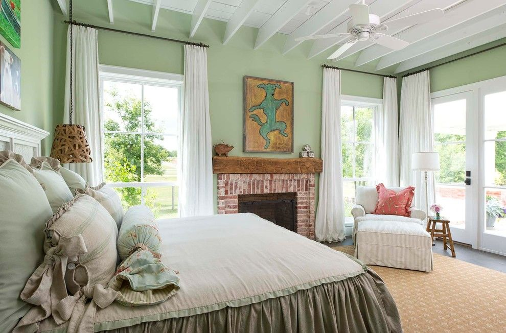 Sutter Home and Hearth for a Farmhouse Bedroom with a Chandelier and Athens Farmhouse by M. Barnes & Co
