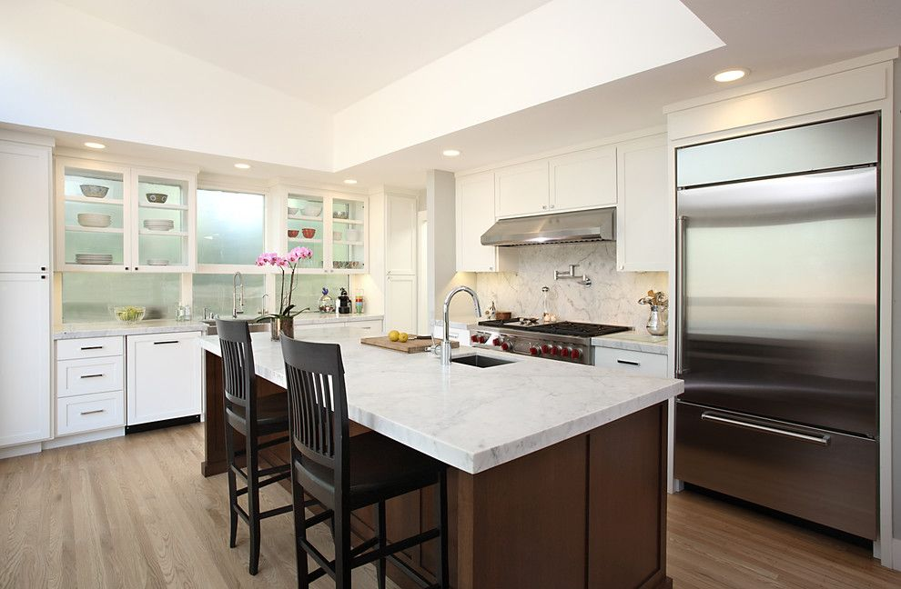Swiss Coffee Paint for a Contemporary Kitchen with a Remodel and #55   Millennium Enterprises   Menlo by Precision Cabinets
