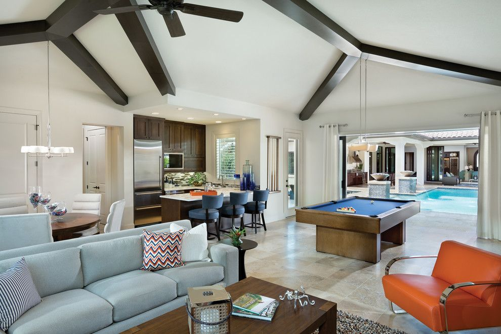 Tampa Bay Pools for a Contemporary Family Room with a Ceiling Beams and Interesting Interior Design Features of Model Homes by Arthur Rutenberg Homes