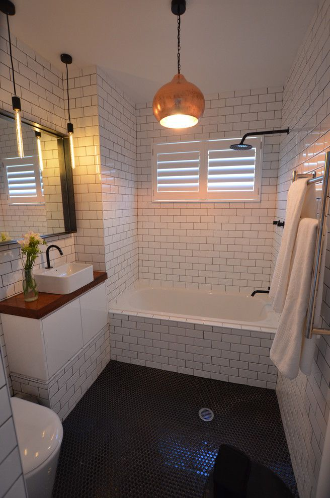 Tap Plastics for a Contemporary Bathroom with a White Bathroom and Macpherson St, Wavereley by an Builders Pty Ltd