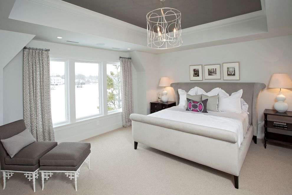 Taupe Paint for a Transitional Bedroom with a Window Treatments and Lakeside Living by Refined Llc