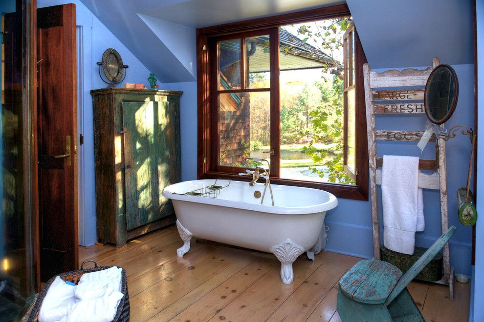 T&d Furniture for a Rustic Bathroom with a Sloped Ceiling and Alexander Julian Estate by Alexander Julian Couture Furniture