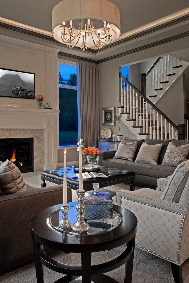 T&d Furniture for a Traditional Living Room with a Mantel and Oakland Township New Construction by Tutto Interiors
