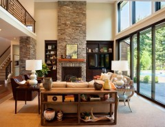 t&d Furniture for a Transitional Living Room with a Stacked Stone Fireplace and the American Dream | 2013 Street of Dreams by Westlake Development Group, LLC