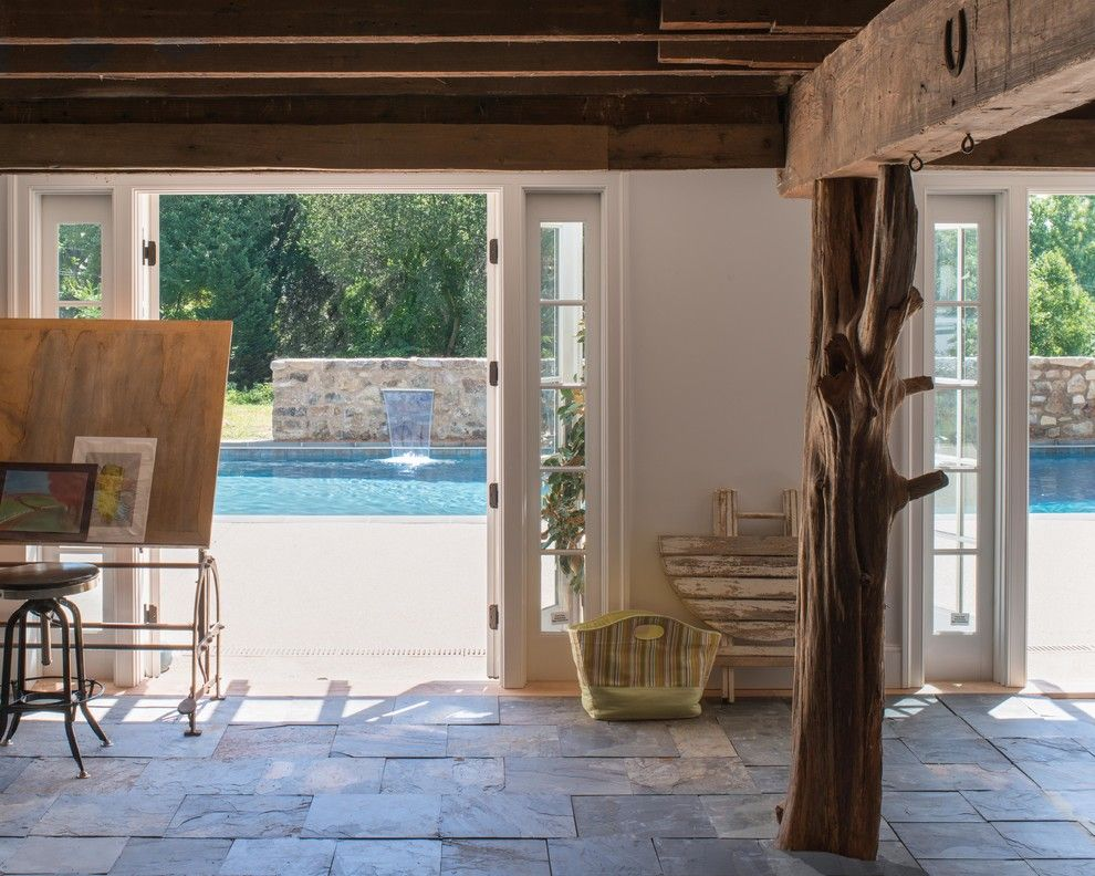 Teddy Bear Pools for a Farmhouse Patio with a Reclaimed Collumn and Farmhouse Patio by Donaldlococoarchitects.com