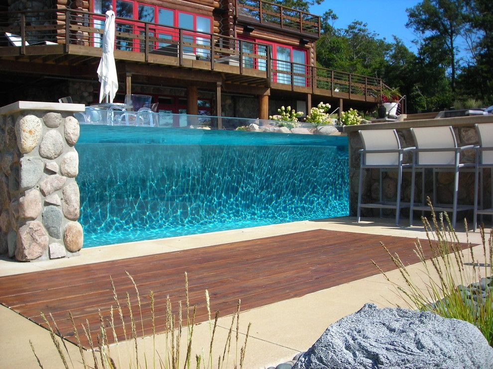 Teddy Bear Pools for a Modern Landscape with a Modern and Apex Landscape Lake Michigan Project by Apex Landscape