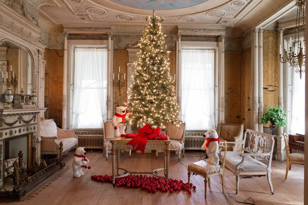 Teddy Bear Pools for a Traditional Family Room with a Christmas and Wilderstein Holiday Tour by Rikki Snyder