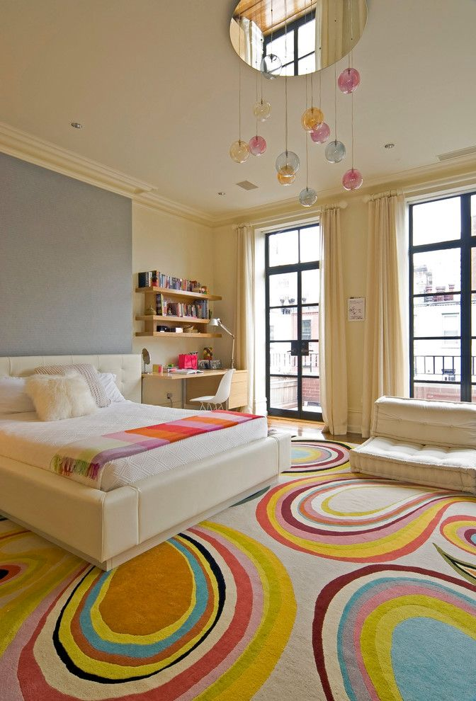 Teenage Girl Bedroom Ideas for a Contemporary Kids with a Feature Wall and New York City Brownstone by Mcquin Partnership Interior Design