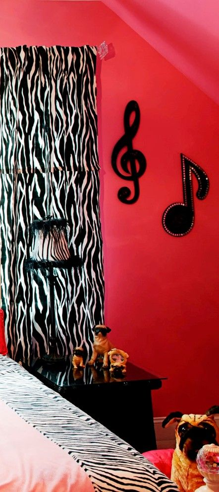 Teenage Girl Bedroom Ideas for a Traditional Kids with a Zebra Stripe and Black and Pink Zebra Teenage Girl Bedroom by Cheryl Hucks Interior Designs