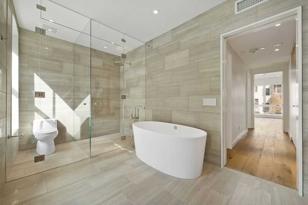 Terrazzo and Marble for a Contemporary Bathroom with a Wet Room and 23 Downing Street by the Turett Collaborative