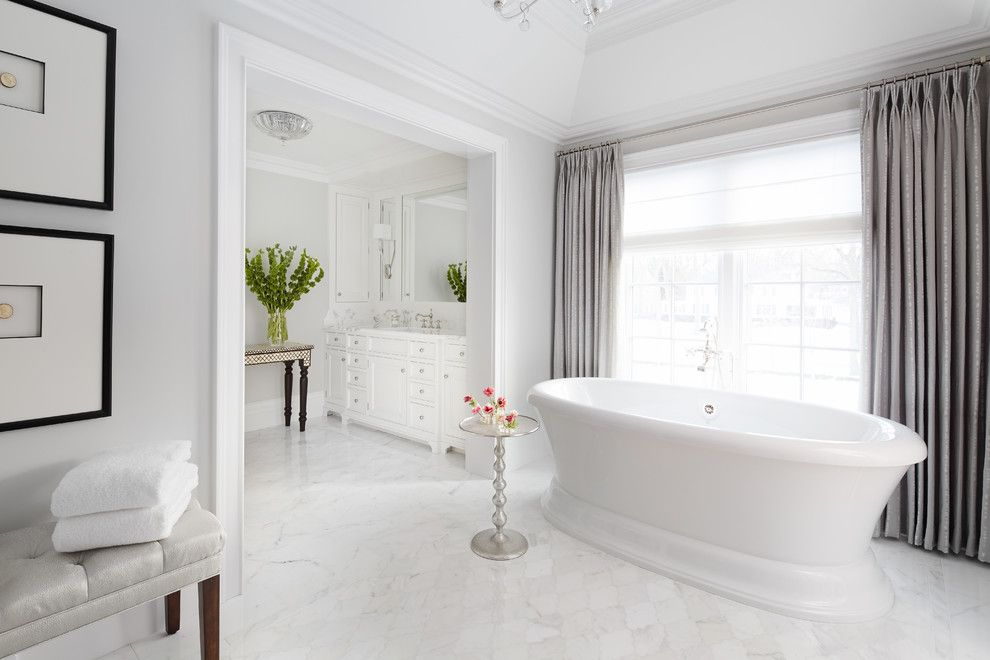 Terrazzo and Marble for a Traditional Bathroom with a Silver Side Table and Breathing Room by Soucie Horner, Ltd.