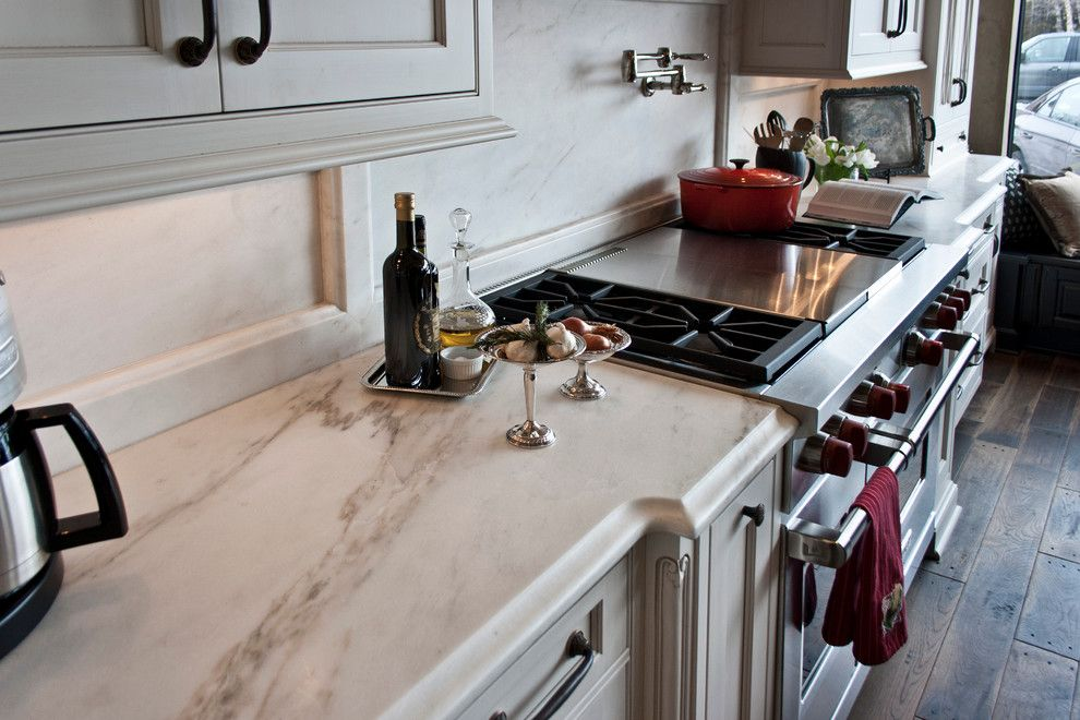 Terrazzo and Marble for a Traditional Kitchen with a Traditional and Blue Galaxy and Imperial Danby Installation by Terrazzo & Marble Supply Co.