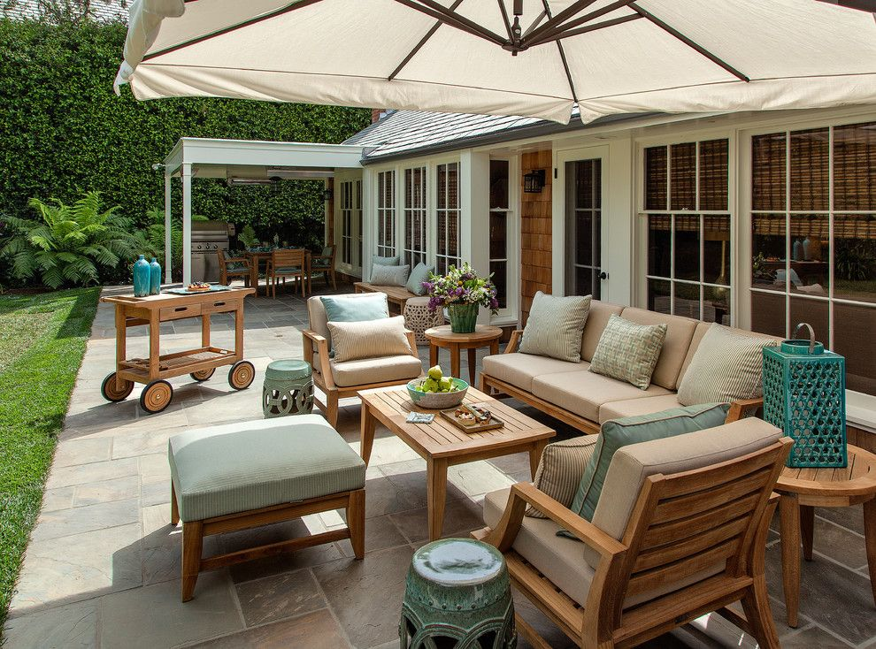Terrazzo and Marble for a Transitional Patio with a Outdoor Umbrellas and Midcentury Modern