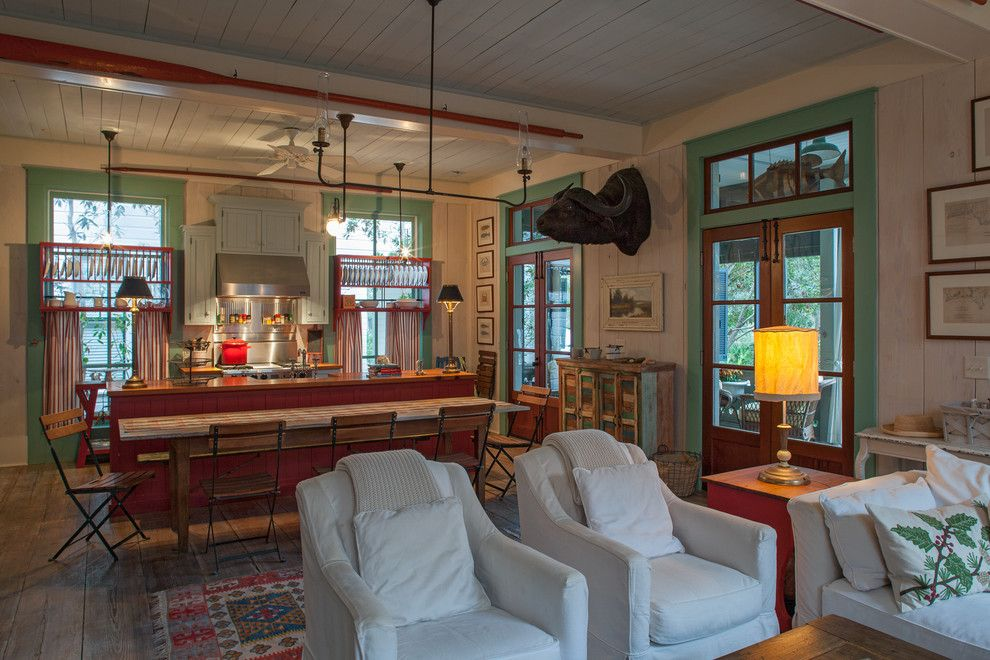 Texas Casual Cottages for a Beach Style Kitchen with a White Pillows and Fish Camp Beach Cottage by Historical Concepts