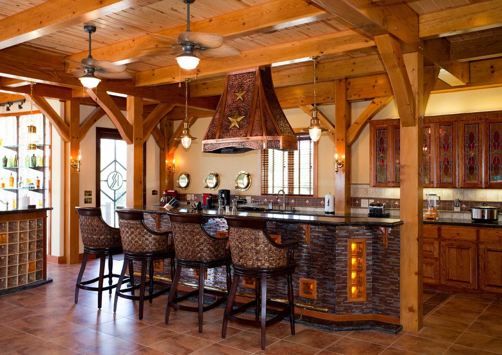 Texas Tool Traders for a Rustic Kitchen with a Glass Cubes and Nautical Themed Timber Frame Home by Texas Timber Frames