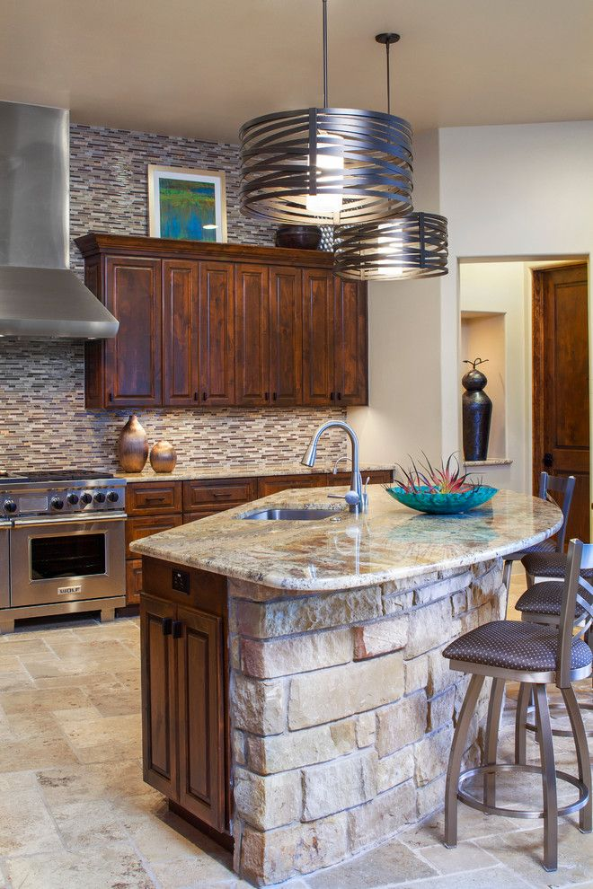 Texas Tool Traders for a Transitional Kitchen with a Tile Floor and New Waterfront Home by Dawn Hearn Interior Design