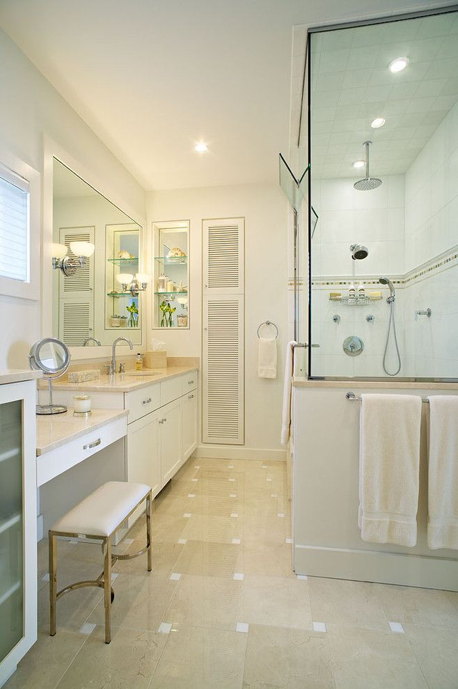 Thermasol for a Beach Style Bathroom with a White Marble and Amagansett Beach Retreat by Kitchens & Baths, Linda Burkhardt