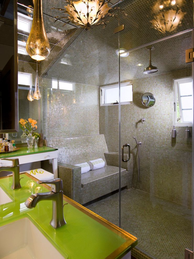 Thermasol for a Contemporary Bathroom with a Rain Showerhead and Spanish Revival by Socal Contractor