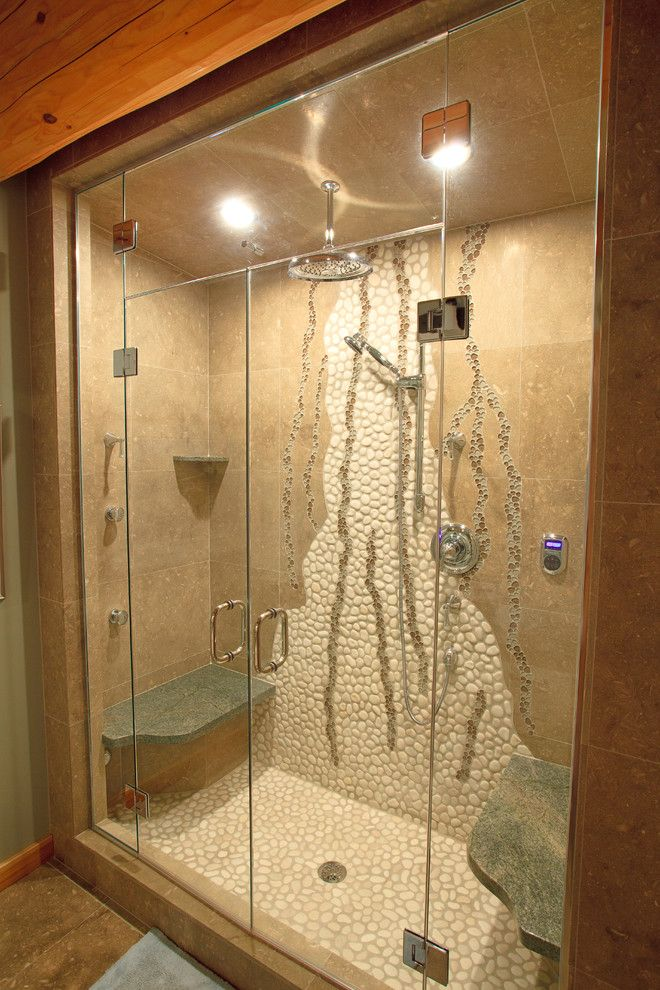 Thermasol for a Eclectic Bathroom with a Shower Bench and Bathrooms in Log Homes by Traditional Log Homes Ltd