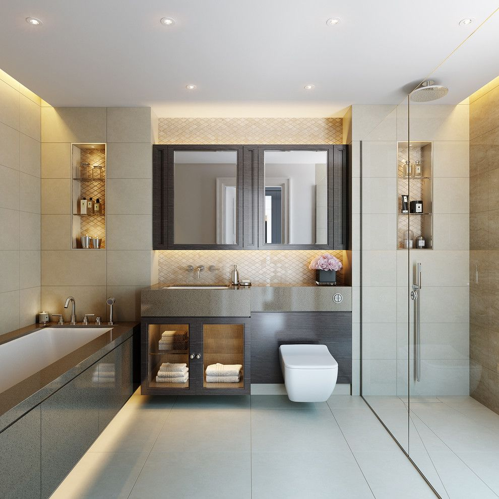 Thermasol for a Traditional Bathroom with a Gray Countertop and Wellington Gate   Wimbledon by Cid Interieur