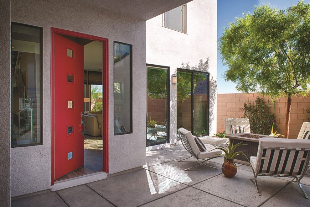 Thermatru Doors for a Contemporary Entry with a Modern Door and Pulse Echo Door by Therma Tru Doors