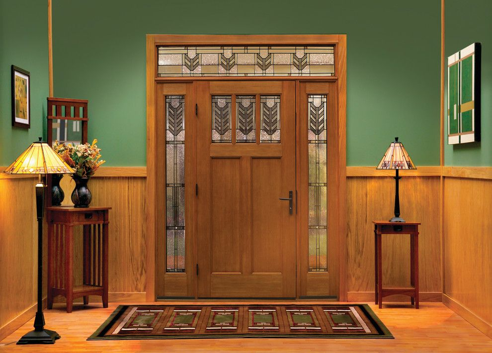 Thermatru Doors for a Craftsman Entry with a Front Doors with Windows and Classic Craft American Style Door, Sidelites and Transom by Therma Tru Doors