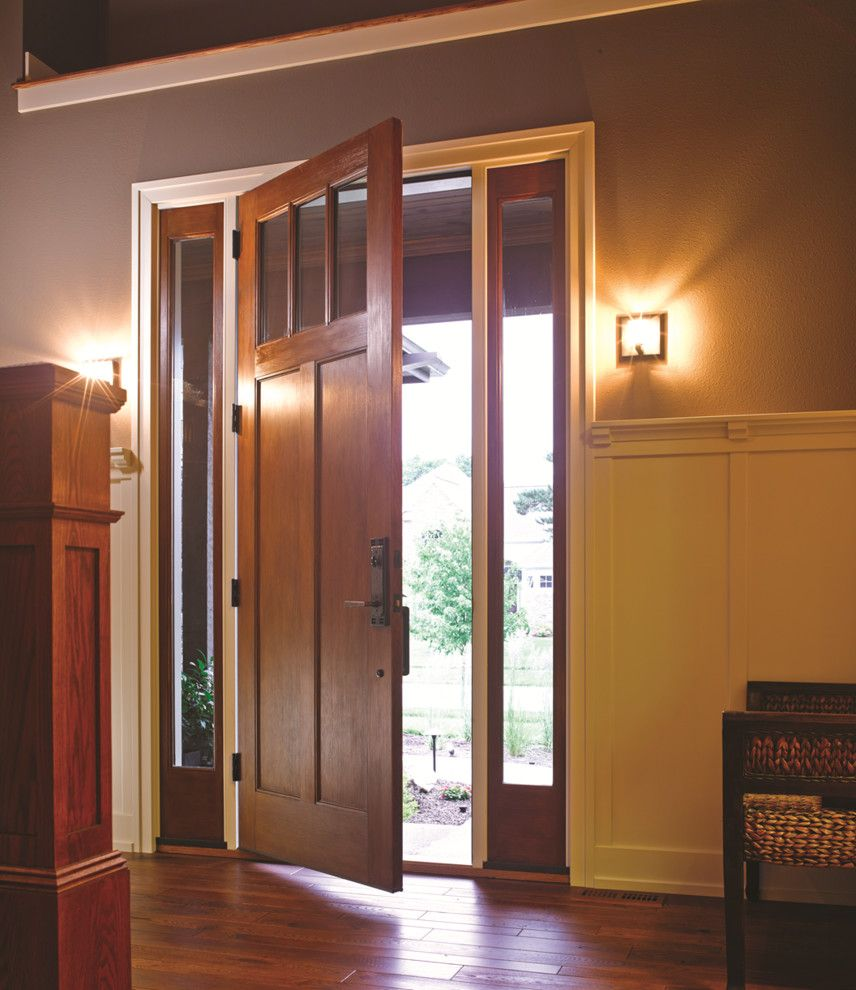 Thermatru Doors for a Craftsman Entry with a Thermatru and 8ft. Classic-Craft American Style Door and Sidelites by Therma-Tru Doors