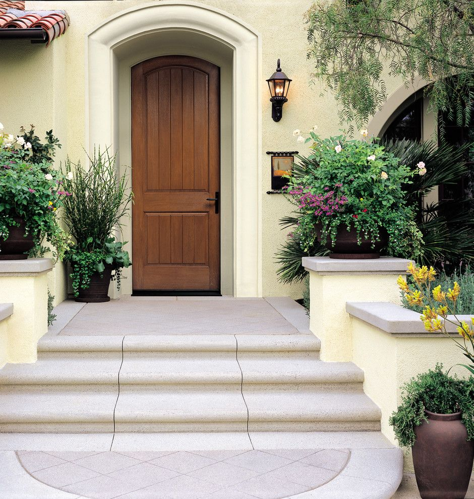 Thermatru Doors for a Mediterranean Entry with a Therma Tru and 8ft. Classic Craft Rustic Door by Therma Tru Doors
