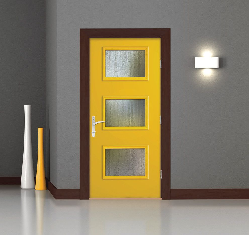 Thermatru Doors for a Modern Entry with a Contemporary and Pulse Ari Door by Therma Tru Doors