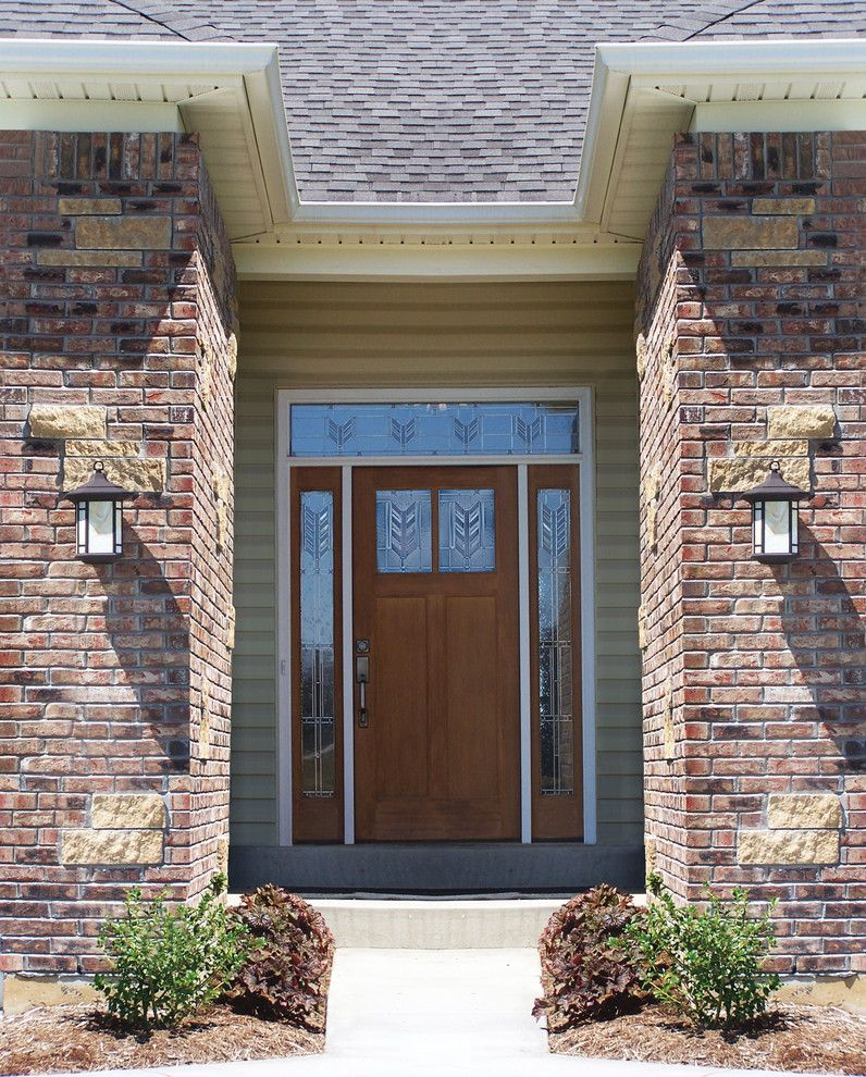 Thermatru Doors for a Transitional Entry with a Thermatru and Classic Craft American Style Door, Sidelites and Transom by Therma Tru Doors