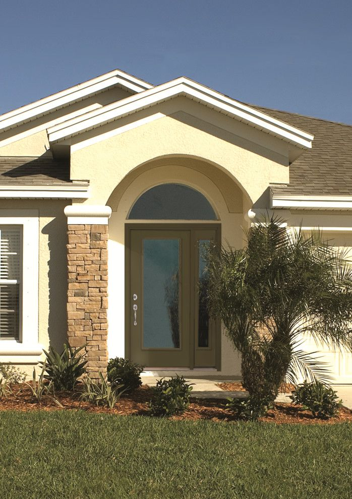 Thermatru for a Mediterranean Exterior with a Front Entry and Smooth Star Door and Sidelite by Therma Tru Doors