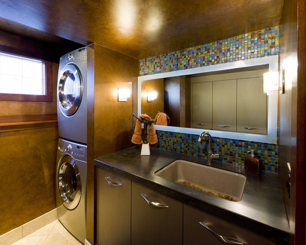 Thrasher Basement for a Contemporary Laundry Room with a Glass Tile and Jones Design Build by Jones Design Build
