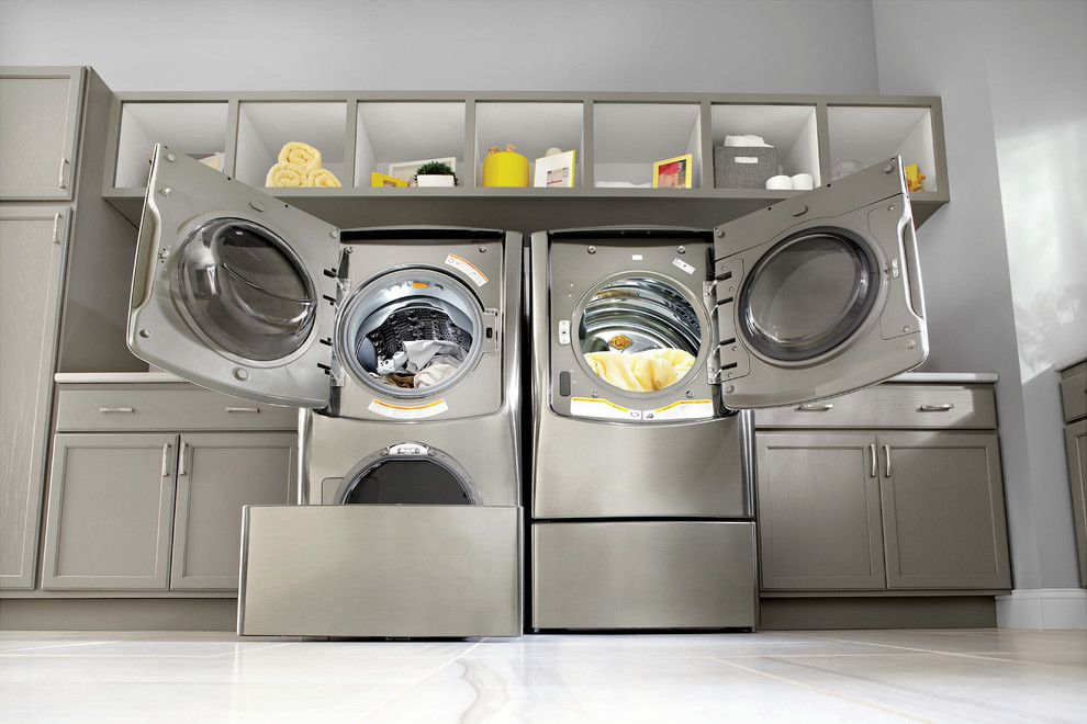 Thrasher Basement for a Contemporary Laundry Room with a Gray Flor Tile and Lg Electronics by Lg Electronics