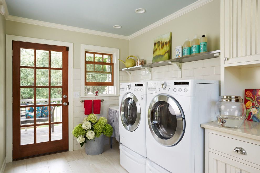 Thrasher Basement for a Farmhouse Laundry Room with a Laundry Room and Minnetonka Laundry by Meriwether Inc