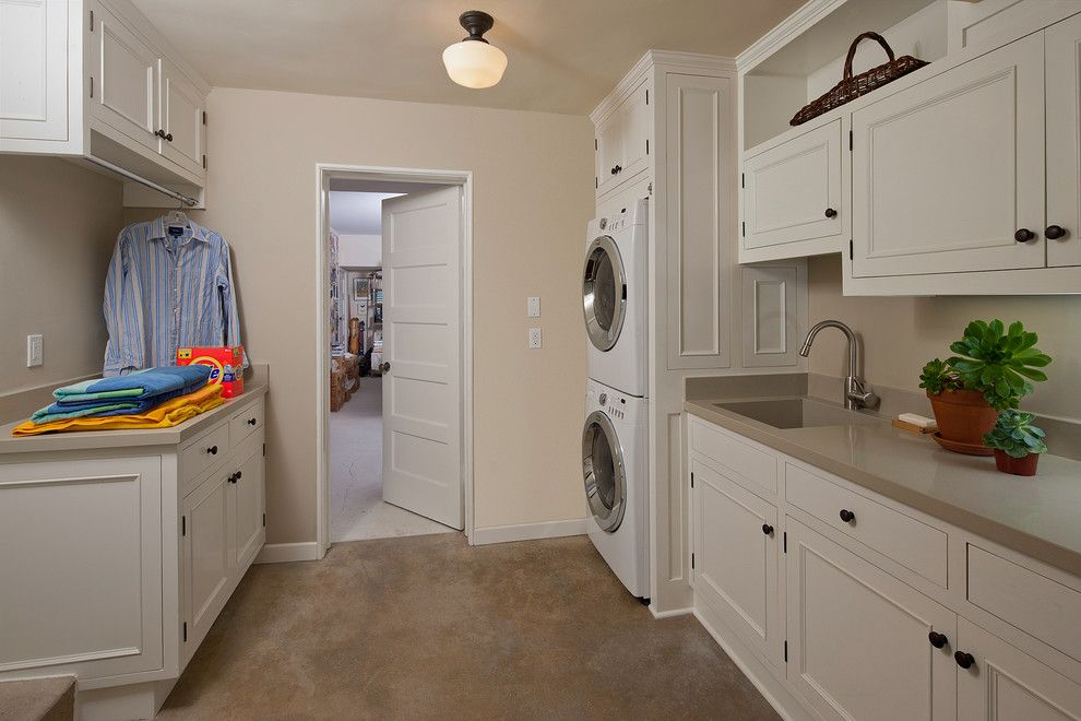 Thrasher Basement for a Traditional Laundry Room with a Built in Storage and Laundry by Kiyohara Moffitt